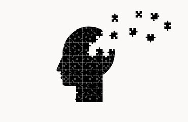 Vector flat image of the head from the pieces of the puzzle. Medicine, business.