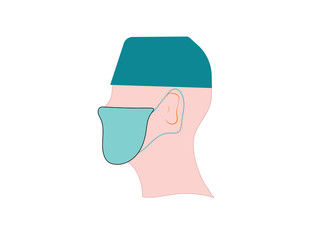 Head of a man in a medical mask and hat. Doctor. The medicine