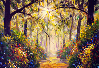 Sunny forest wood trees Original oil painting. Road in sun summer flowers park alley impressionism fine art hand painted landscape paintings artwork