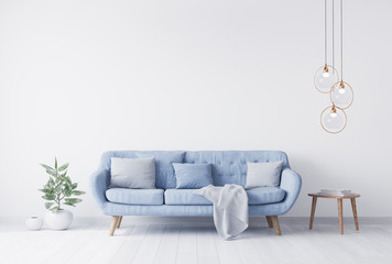 grey pillow above blue Scandinavian sofa in modern interior. wooden side table with gold elegant accessories. Green plant vase. White wall mock up. Minimal concept design. 3D render. 3D illustration