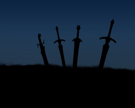 Several swords sticking blade first in the ground against the sky