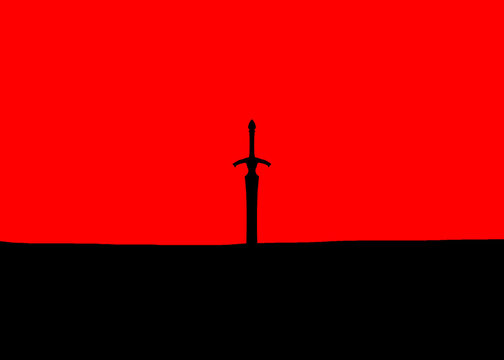 Sword sticking out of the ground against red sky