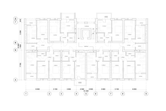 Detailed architectural multistory house floor plan, apartment layout, blueprint. Vector illustration