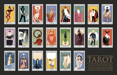 22 Major Arcana of the Tarot card in full. JPG illustrations in high resolution