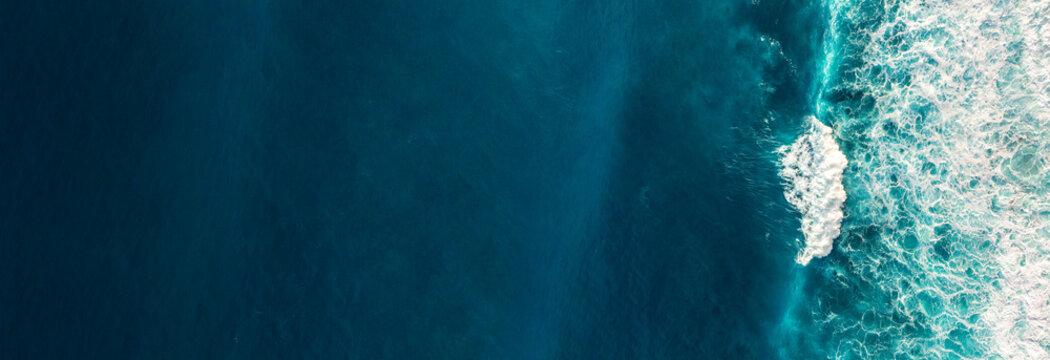 Aerial view to waves in ocean Splashing Waves.