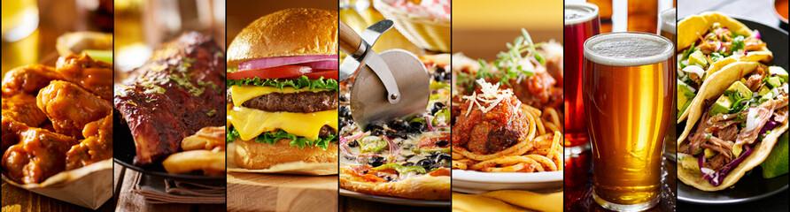Obraz collage of american restaurant food items - fototapety do salonu
