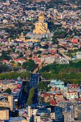 Fototapete - Tbilisi cityscape skyline Holy Trinity Cathedral Georgia Europe landmark