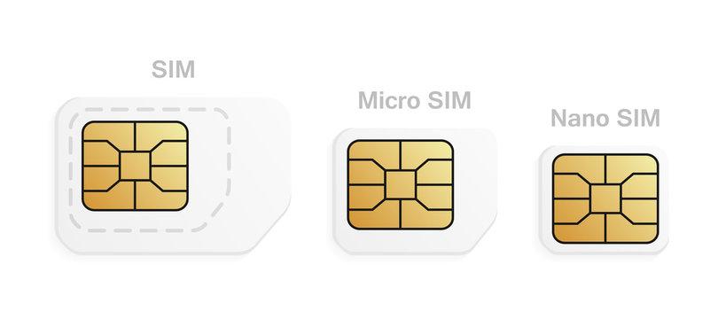 Mobile sim card types set. Normal, Micro, Nano cellular phone cards.