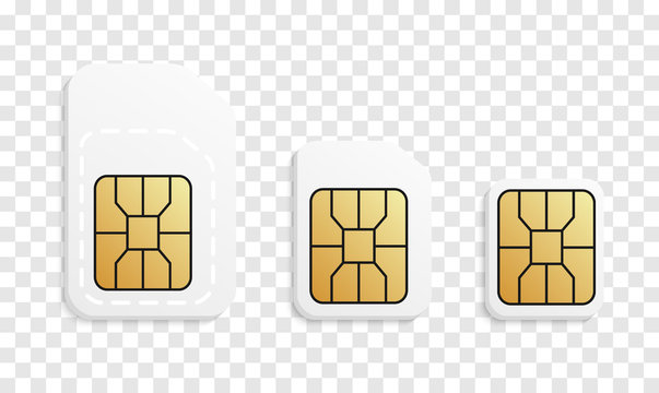Normal, Micro, Nano - phone card set. Mobile sim card types