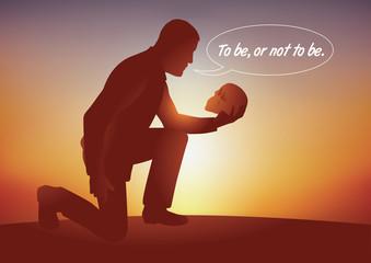 Concept de l'existence avec un homme à genoux qui tenant dans sa main un crâne, se pose la célèbre question de Shakespeare, être ou ne pas être.