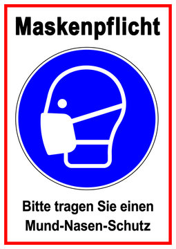 ds81 DiskretionSchild - Gebotsschild, Gebotszeichen: Schild mit der Aufschrift Maskenpflicht. - Bitte tragen Sie einen Mund-Nasen-Schutz (MNS) Mundschutz, OP-Maske - Druckvorlage DIN A1 A2 A3 A4 g9390