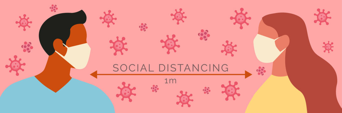 a couple affected by social distancing, vector graphic simulator