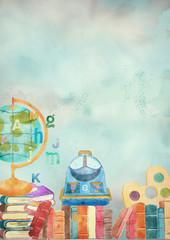 Watercolor school background