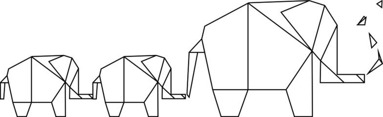 Elefanten Familie geometrisches Design