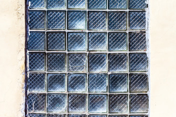 Glass blocks wall as background texture