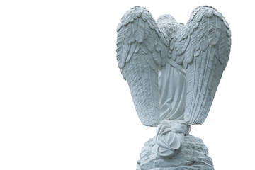 Fotomurales - Antique stone statue of angel isolated on white background, rear view. Free space for design.