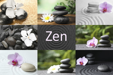 Foto op Plexiglas Stenen in het Zand Collage with beautiful photos of stones. Zen and harmony