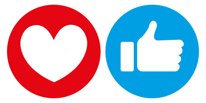 Heart and thumb up icon on white background. social media icon, sensitive emotional reactions
