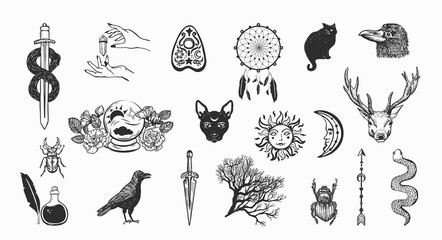 Witchcraft and magic vector collection. Hand drawn occult symbols on white background.