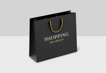 Realistic Black Shopping Bag on White Background Mockup