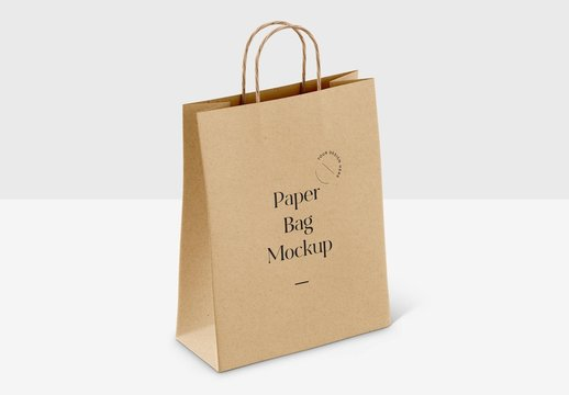 Realistic Paper Shopping Bag on White Background Mockup