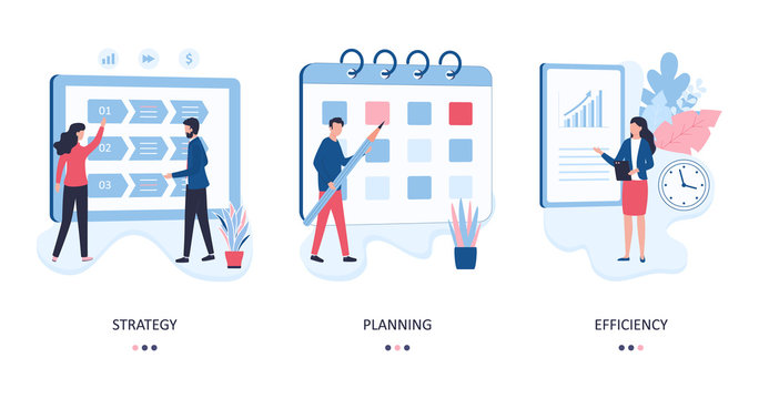 Set 3 concepts of strategy, planning and efficiency. Marketers develop a direction of activity, plan the work of company, evaluate the results. Flat vector illustration isolated on white background