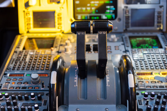 Cockpit view of an airplane in flight