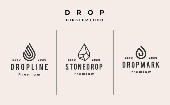 drop line stone logo vector icon hipster vintage retro illustration