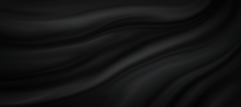 Black silk background illustration with dark luxurious fabric draped texture folds in waves of flowing soft pattern, abstract satin or velvet cloth in luxury material design for website or fashion