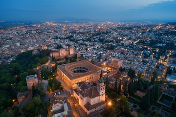 Wall Mural - Granada Alhambra aerial view at night