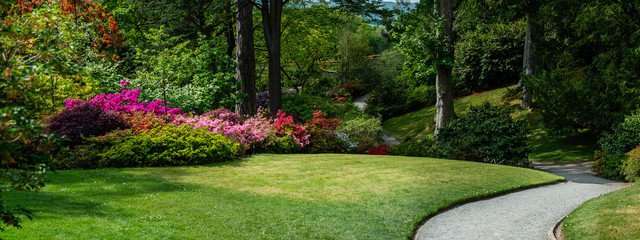 Foto op Canvas Tuin Beautiful Garden with blooming trees during spring time, Wales, , banner size