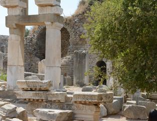 Fotobehang Fontaine Ancient temple of Domitian in Ephesus ruins, Turkey.
