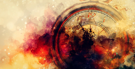 Clock showing five minutes to twelve. Time to stop and realize the values of life and painting effect.
