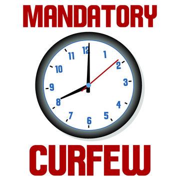 Mandatory Curfew sign illustration with clock