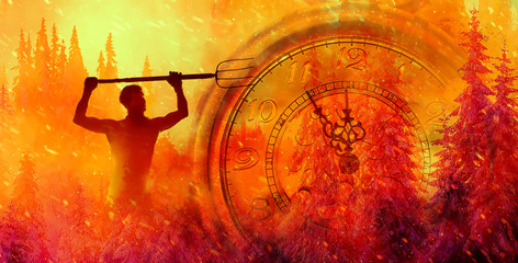 Fotorollo Rot kubanischen burning spruce forest. Clock showing five minutes to twelve. Time to stop and realize the values of life.
