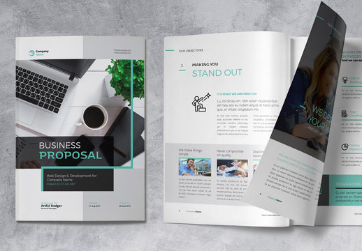 Business Proposal Brochure with Turquoise Accents