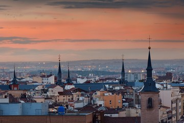 Wall Mural - Madrid rooftop sunset view