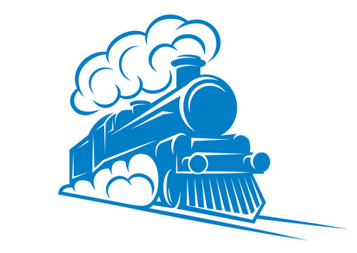 Color pattern for design with retro train on rails. Vector scalable illustration