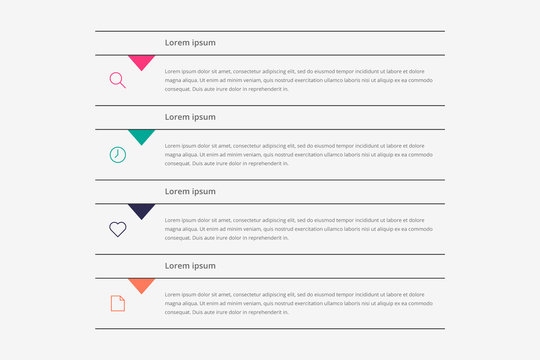 Modern vector abstract infographic with 4 steps or processes elements and marketing icons. Business concept timeline.