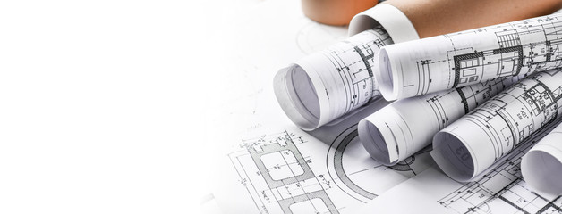 Technical drawings with measure tools. Pencil, measurement. Papers with technical drawings and...