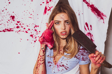 Zombie. Happy Halloween. Aggressive girl in blood. Full of blood. Donation and donar. Blood lust. A terrible Halloween. Bloody halloween. Butcher carcass. Cannibalism. Wall mural