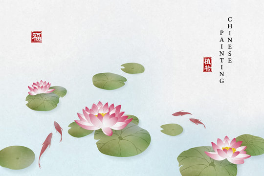 Chinese ink painting art background plant elegant flower water lily and fish in the pond. Chinese translation : Plant and Blessing.