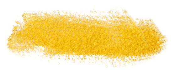 yellow gold shiny paint stain. with paper texture on a white background