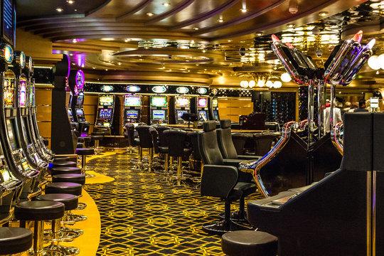 CRUISE LINER SPLENDIDA - April 1, 2020: Gaming casino, Cruise liner Splendida