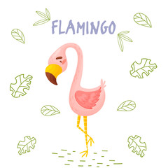Cute cartoon flamingo in jungle on a white backgrount. Element for print, postcard and decor. Vector illustration