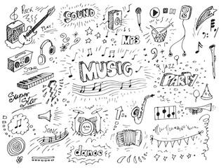 Obraz Hand drawn music doodles vector illustration  - fototapety do salonu
