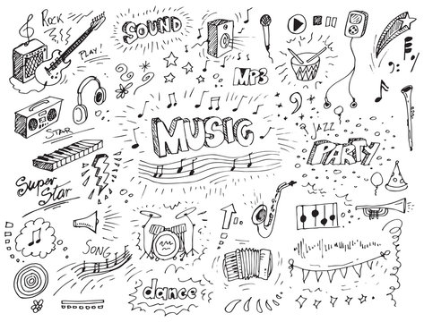 Hand drawn music doodles vector illustration