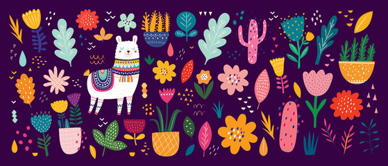 Fototapete - Beautiful flower collection with flowers, llama,  leaves. Modern colorful vector pattern