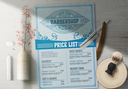 Vintage Barber Shop Price List Layout with Logo