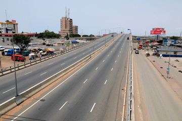 A deserted view of the Kwame Nkrumah Interchange, as Ghana enforces partial lockdown in the cities of Accra and Kumasi to slow the spread of the coronavirus disease (COVID-19), in Circle district of Accra